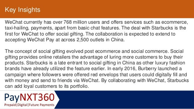 We chat and starbucks collaborate to launch social gifting