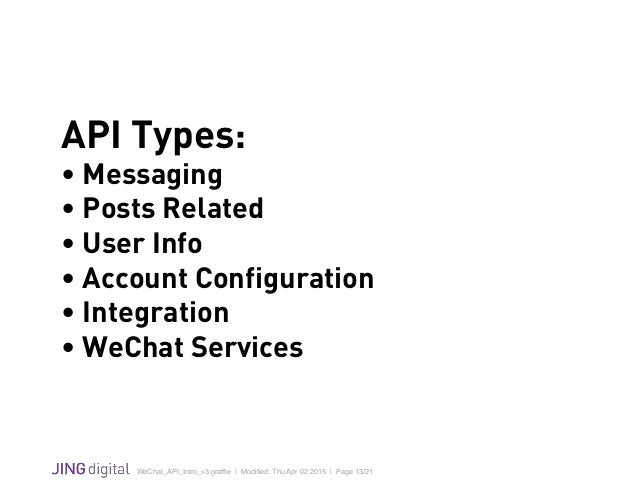 WeChat_API_Intro_v3.graffle   Modified: Thu Apr 02 2015   Page 13/21 ! API Types: • Messaging • Posts Related • User Info • ...
