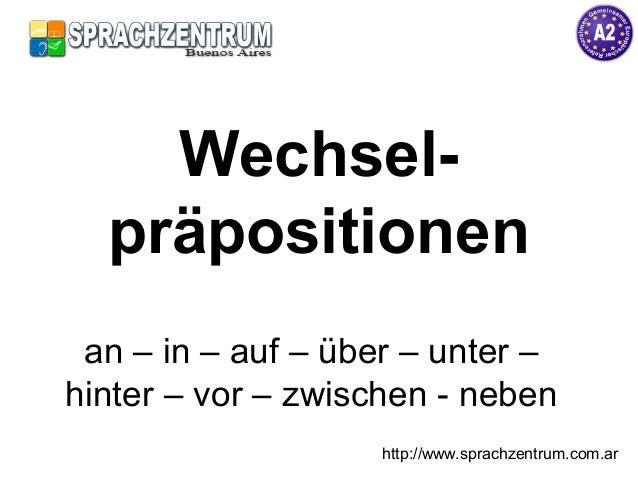 Wechsel- präpositionen an – in – auf – über – unter – hinter – vor – zwischen - neben http://www.sprachzentrum.com.ar