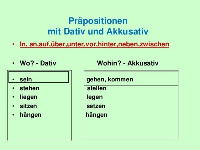Wechselpr positionen for Prapositionen mit akkusativ