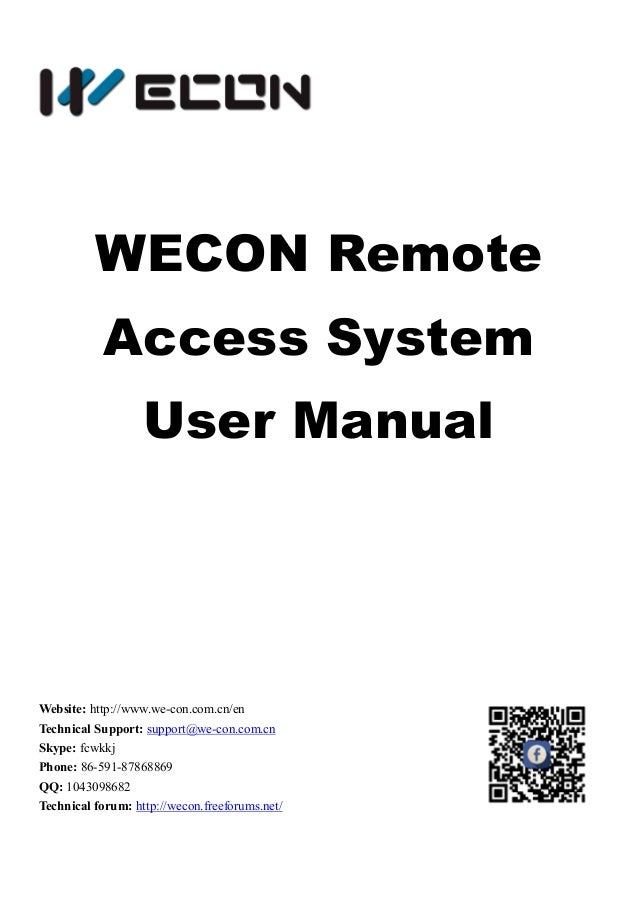 WECON Remote Access User Manual