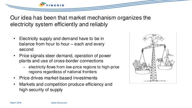 Our idea has been that market mechanism organizes the electricity system efficiently and reliably March 2016 Jukka Ruusune...