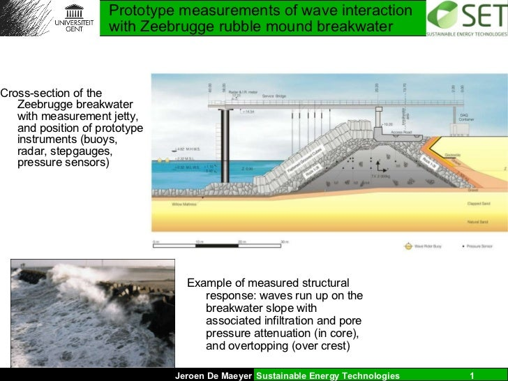 Prototype measurements of wave interaction with Zeebrugge rubble mound breakwater <ul><li>Cross-section of the Zeebrugge b...