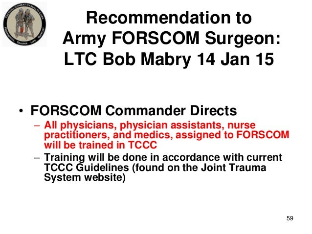 Tactical Combat Casualty Care Update: 2015