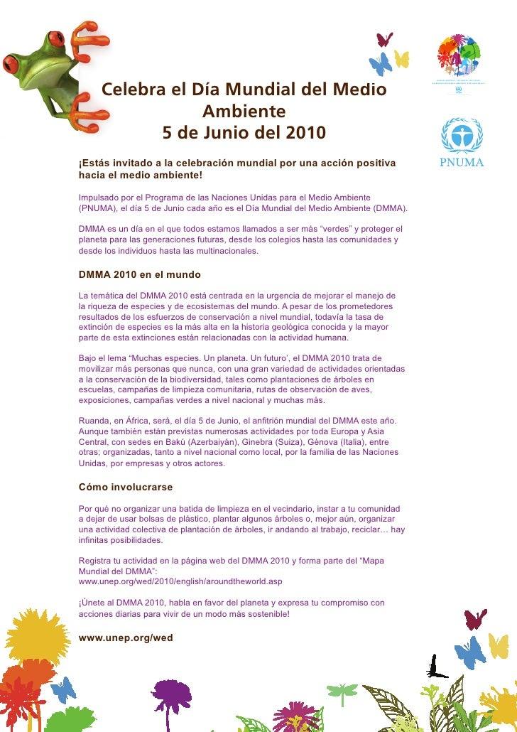 Celebra el Día Mundial del Medio                                                   Programa de las Naciones Unidas para el...