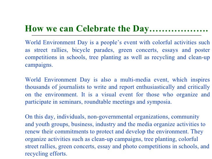 Essay world environment day