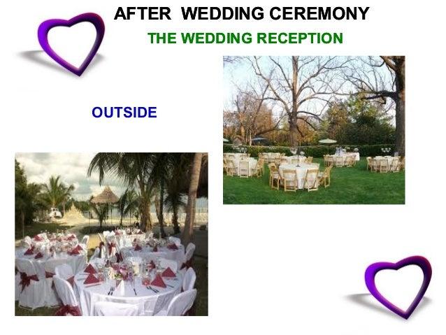 ON WEDDING DAYTHE WEDDING RECEPTION             INSIDE