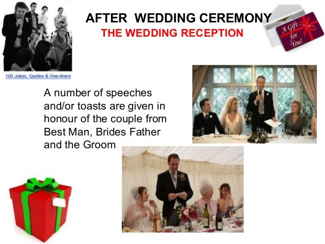 AFTER WEDDING CEREMONY               THE WEDDING RECEPTIONThe married couple,the couples parents,the best man and theweddi...