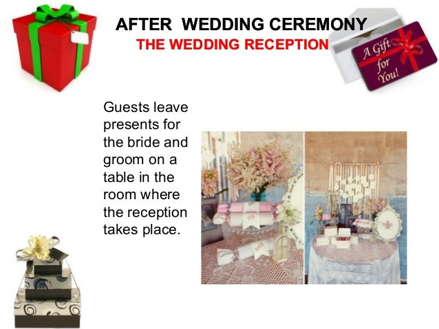 ON WEDDING DAY     THE WEDDING RECEPTION            Cutting Wedding CakeIt is consideredlucky for thecouple to cut thecake...