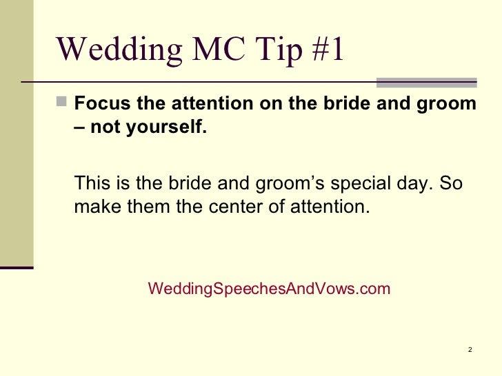 Wedding Emcee Tips    Slide 2