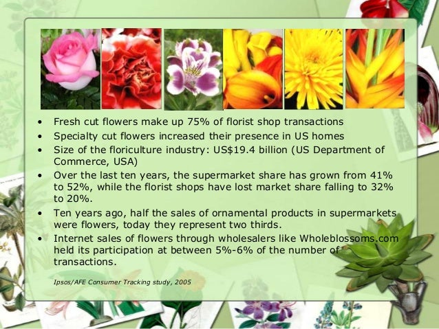 •   Fresh cut flowers make up 75% of florist shop transactions•   Specialty cut flowers increased their presence in US hom...