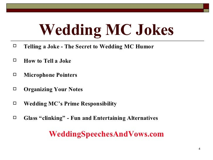Wedding mc joke collection for Mc template for wedding