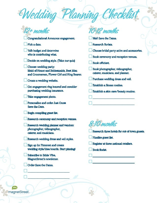 6 month wedding checklist