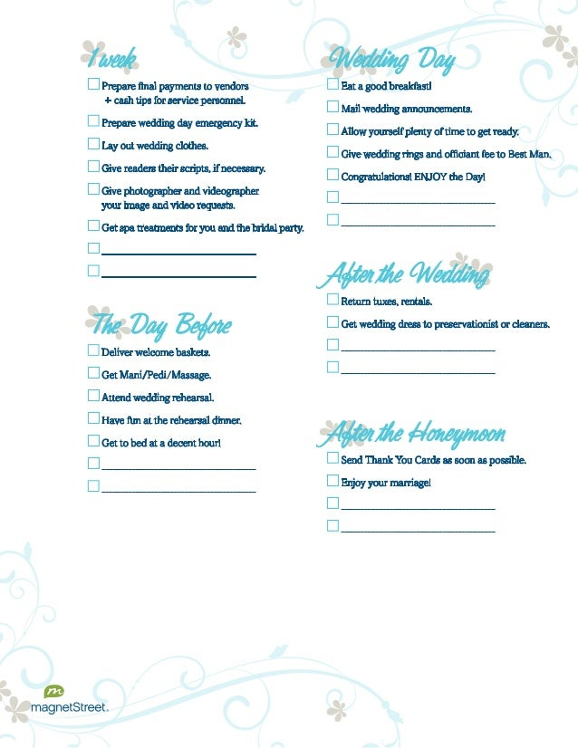 Wedding planning checklist for Good wedding registry items
