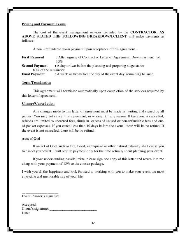 Event Planner Contract Agreement. Photography Contract Template