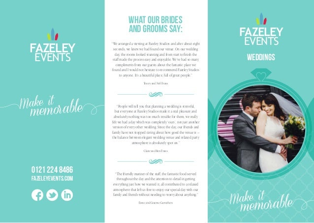 Wedding Brochure - Fazeley Events