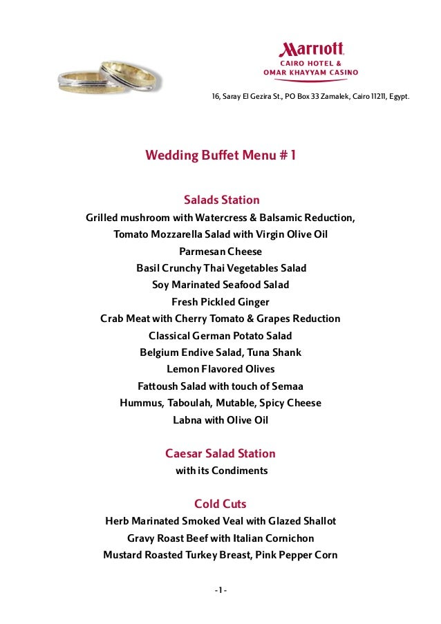 Wedding Buffet Menus
