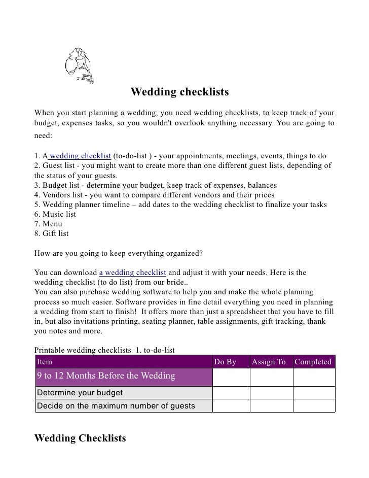 Wedding checklists When you start planning a wedding, you need wedding checklists, to keep track of your budget, expenses ...