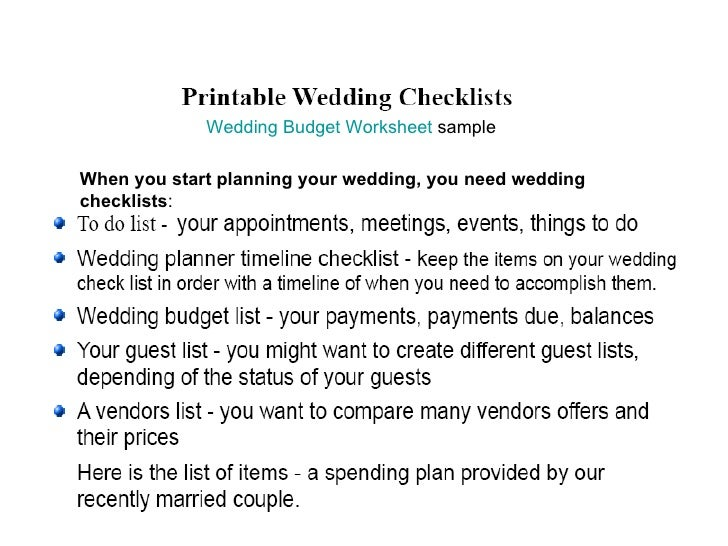 Wedding checklists 2 budget wedding budget worksheet sample when you start planning your wedding you need wedding checklists junglespirit Image collections