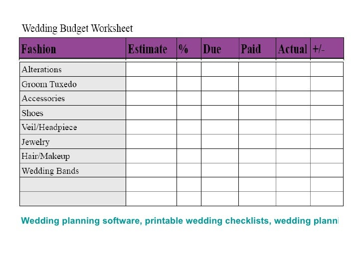 Wedding Checklists  Budget