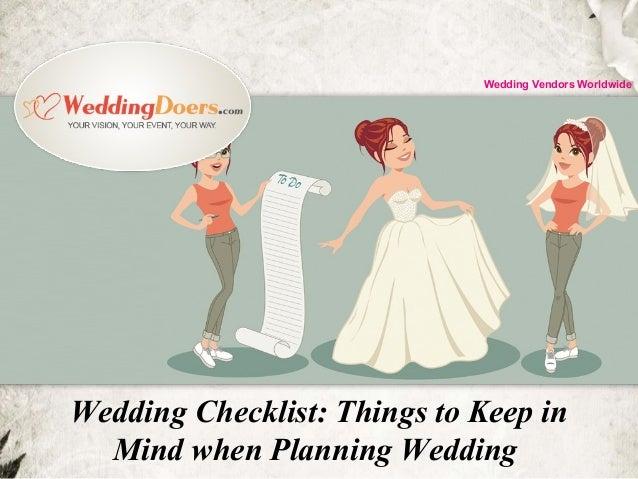 Wedding Checklist: Things to Keep in Mind when Planning Wedding Wedding Vendors Worldwide
