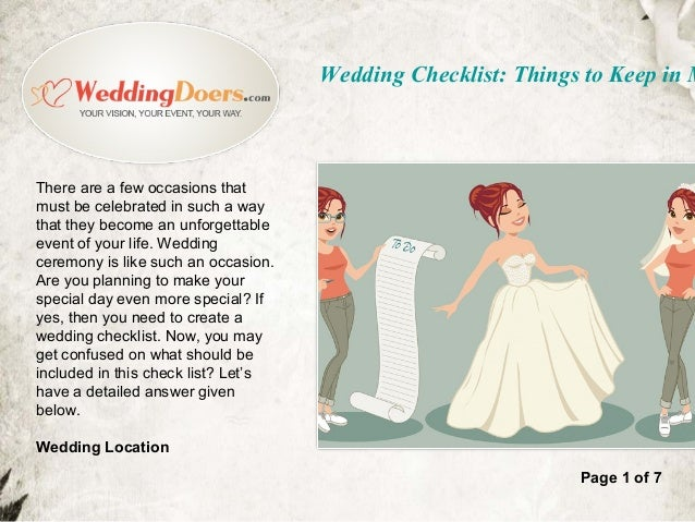 things you need for a wedding