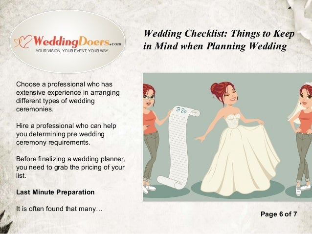 Wedding Checklist Things To Keep In Mind When Planning Wedding