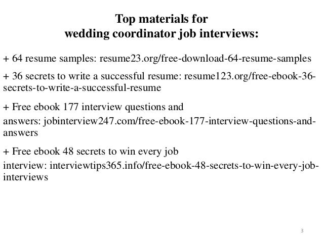 Wedding Coordinator Resume Sample Pdf Ebook Free Download