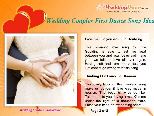 Wedding Couples First Dance Song Ideas