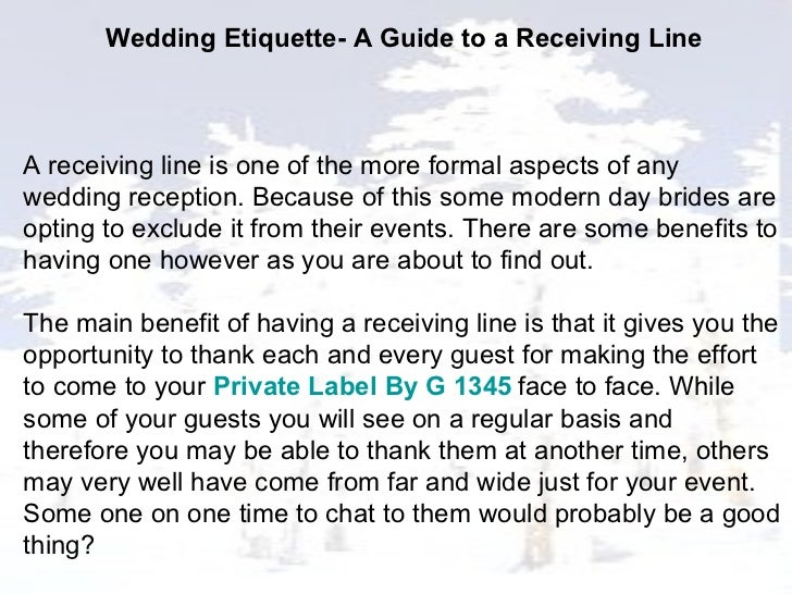 Wedding Etiquette A Guide To A Receiving Line