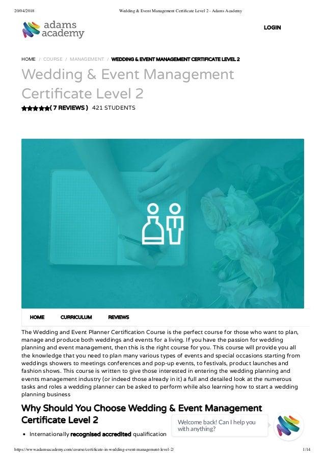 Wedding & event management certificate level 2 - Adams Academy