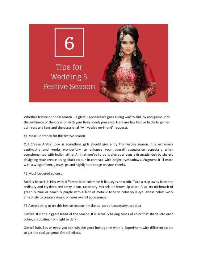 Wedding festive season tips whether festive or bridal season a gleeful appearance goes a long way to add joy junglespirit Choice Image