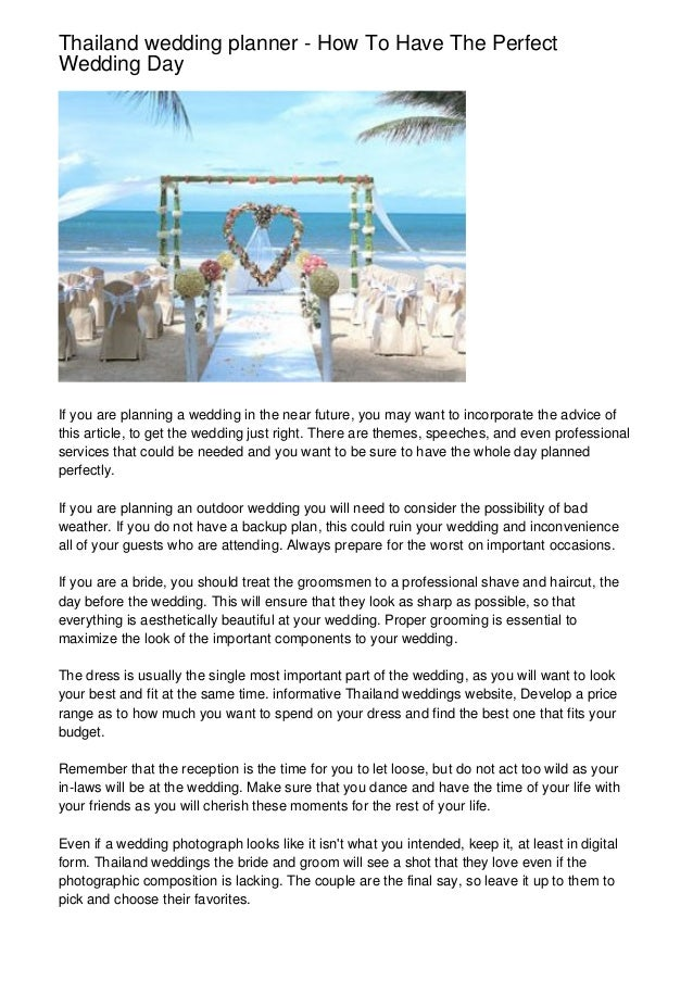 Thailand Wedding Planner How To Have The Perfect Wedding Day