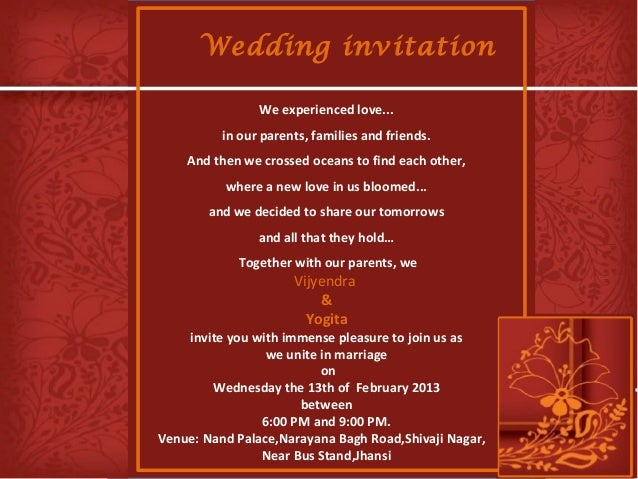Indian Wedding Invitation Message: Wedding Invitation Vijyendra & Yogita 13-feb-2013