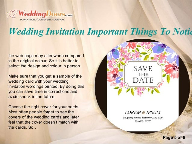 Things To Put On A Wedding Invitation: Wedding Invitation Important Things To Notice