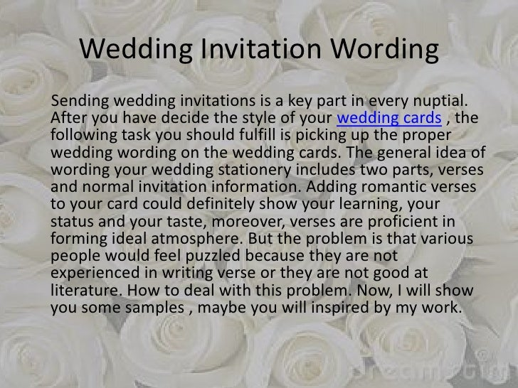 How To Start A Wedding Invitation: Wedding Invitation Wording