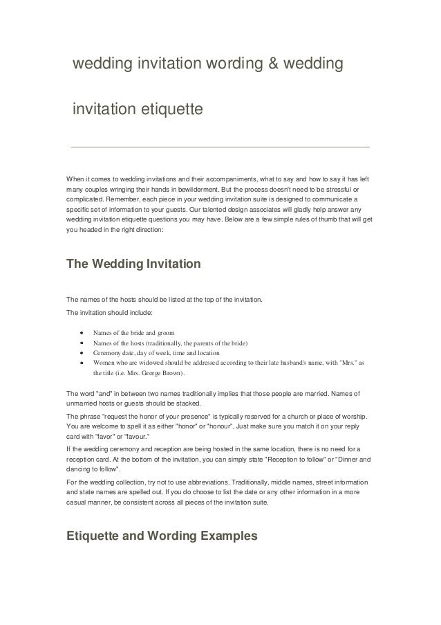Wedding invitation wording wedding invitation wording wedding invitation etiquette when it comes to wedding invitations and their accompaniments filmwisefo