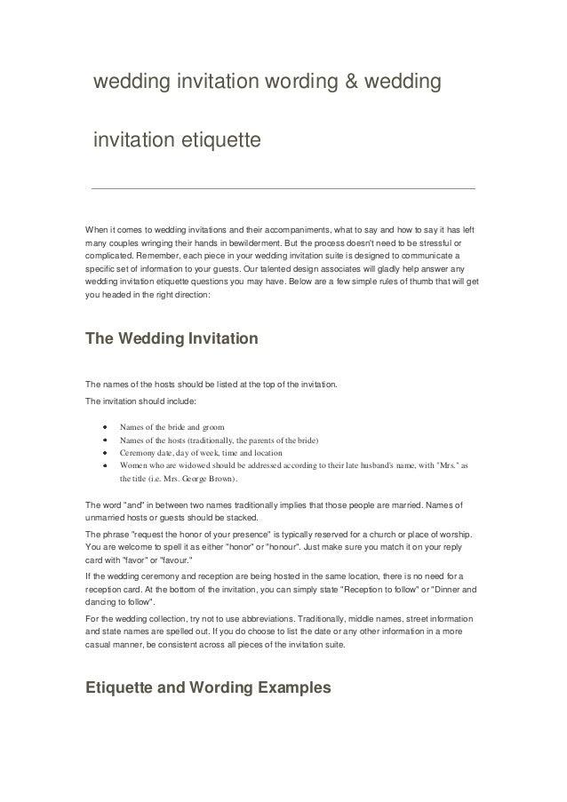 wedding invitation wording u0026 wedding invitation etiquette when it comes to wedding invitations and their formal - Wedding Invitation Cover Letter