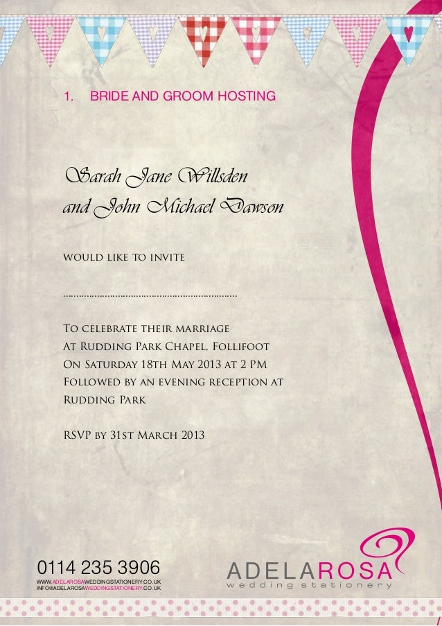 Wedding Invite Wording From Bride And Groom.Wedding Invitation Wording Adelarosa
