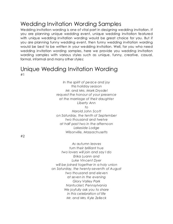 Wedding Invitation Wording SamplesWedding Invitation Wording Is One Of  Vital Part In Designing Wedding Invitation.