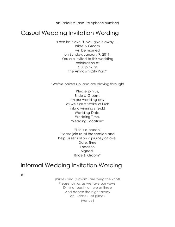 8 On Address And Telephone NumberCasual Wedding Invitation Wording