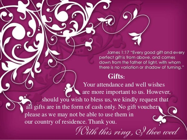 Wedding Invitation No Gifts Just Money: Wedding Invite Powerpoint