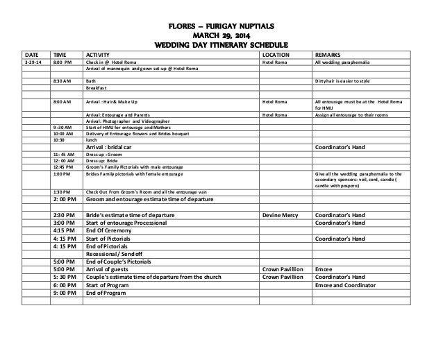 Wedding itinerary of furigay flores furigay nuptials march 29 2014 wedding day itinerary schedule date time activity location junglespirit Images