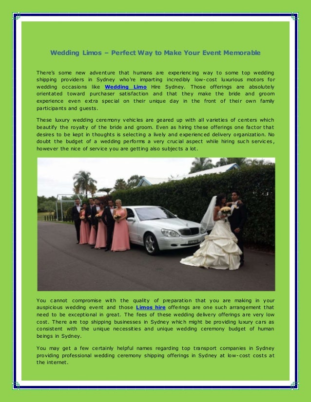 Wedding limos – perfect way to make your event memorable