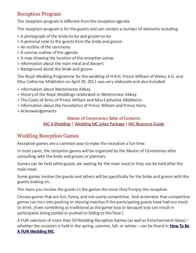 wedding programme outline