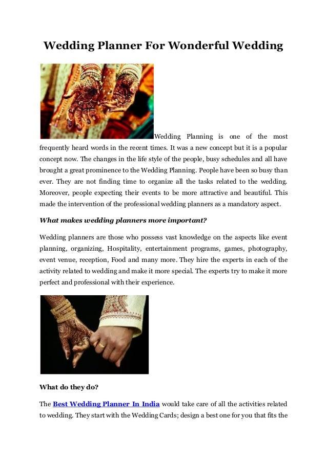 wedding planner for wonderful wedding