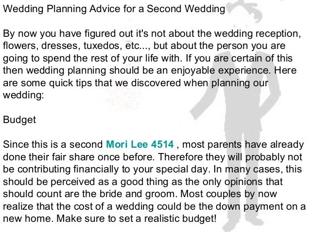 Wedding planning advice for a second wedding