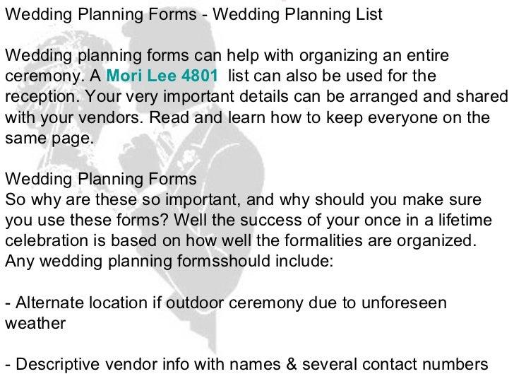 wedding planning forms wedding planning list