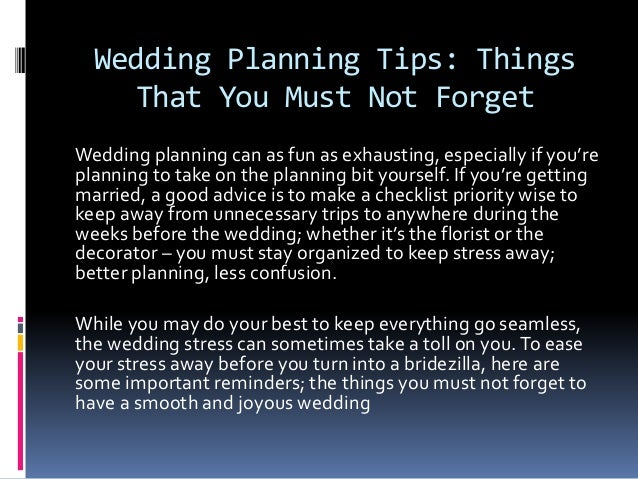 Wedding Planning Tips Things That You Must Not Forget