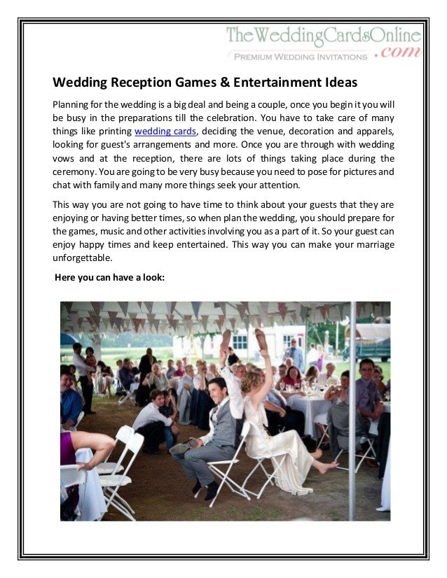 Wedding Reception Games Amp Entertainment Ideas 1
